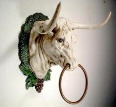 Stier Gusseisen Antik Stierkopf mit Ring Dekofigur Büffel Weiss Garten Haus Deko