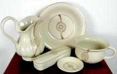 Lavabo Antik Waschset Przellan 6 - Teilig Waschschüssel Krug Seifenschale Weiss / Gold