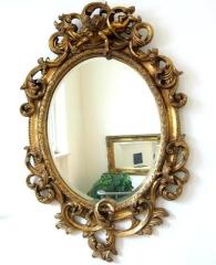 Barock Spiegel Wandspiegel Oval 90cm Gold