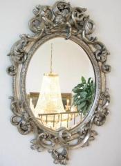 Barock Spiegel Wandspiegel Oval 90cm Silber