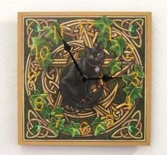 Uhr Bilderuhr Schwarze Katze Wanduhr Holz Motivuhr Petagramm Hexe Keltisch