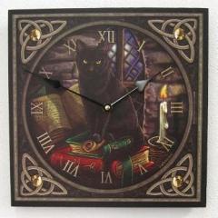 Uhr Holz Bilderuhr Katze Buch Motivuhr Pentagramm Keltisch