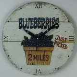 Wooden wall clock kitchen clock fruits Blueberry Vintage - style